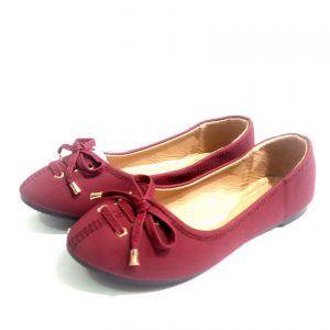 Wine leather down shoes for ladies