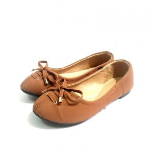 Brown leather down shoes for ladies