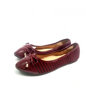 Wine Suede leather Down (Flat) Low Top Shoe for ladies