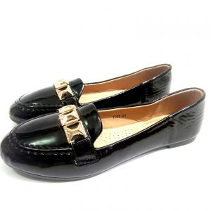 Black leather low top Down (Flat) Low Top Shoe for ladies