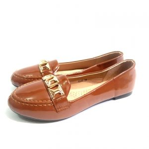 Brown suede down shoes for ladies