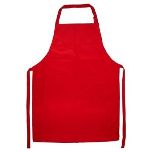 Red apron for kitchen and general use
