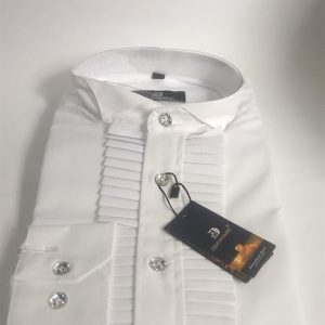 Odinmars Long Sleeve Slim Fit Official Pleated Dinner shirt- White