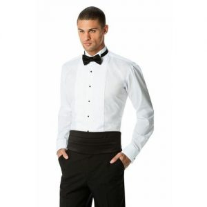 L&B Long Sleeve Slim Fit Pleated Official Dinner Shirt- White
