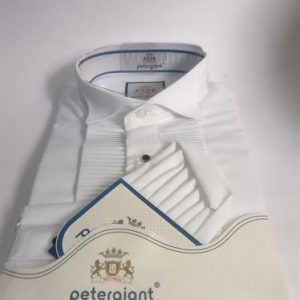 Petergiant Long Sleeve Slim Fit Official Pleated Dinner Shirt- White