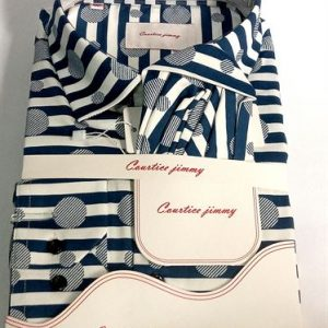 Courtice Jimmy Long Sleeve Official Shirt With Pocket Square- Blue & White