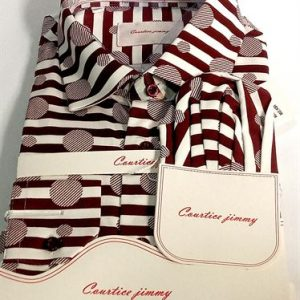 Courtice Jimmy Long Sleeve Official Shirt With Pocket Square- Brown & White