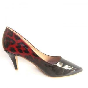 Angle Shine High Heel Pointed Shoe for ladies - Red & Black