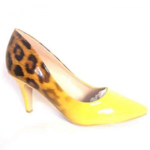 Angle Shine High Heel Pointed Shoe for ladies - Yellow & Black