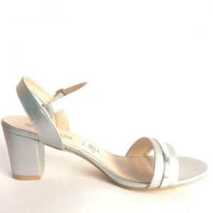 Fashion Lady Block Heel Sandal (shoes) for ladies -Silver